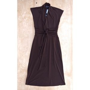 NWT Max & Cleo Brown sheath cap sleeve dress xs
